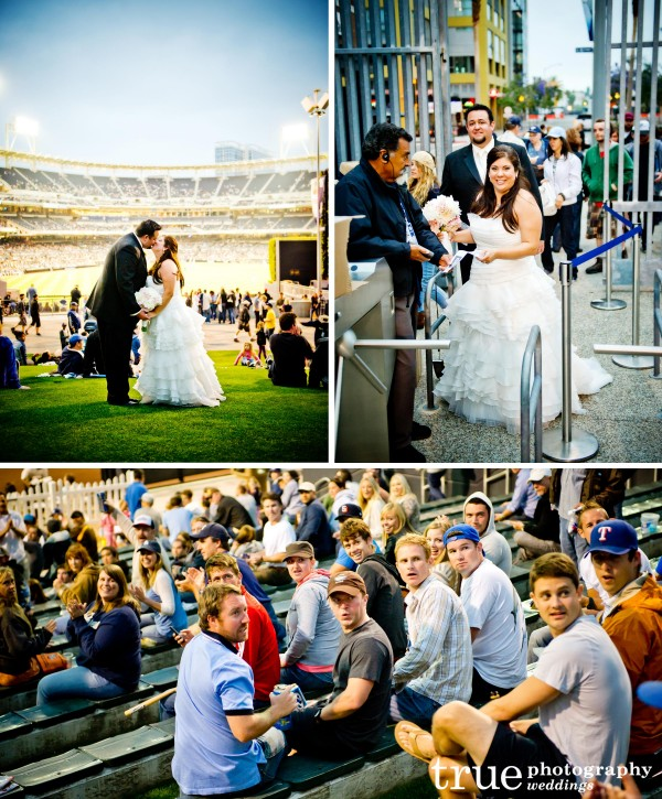 San Diego Wedding Photographer captures bride and groom at a San Diego Padres game at Petco Park
