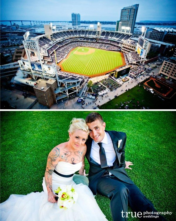 San Diego Wedding Photographer captures Petco Park during a wedding at the Ultimate Skybox in DiamondView Tower