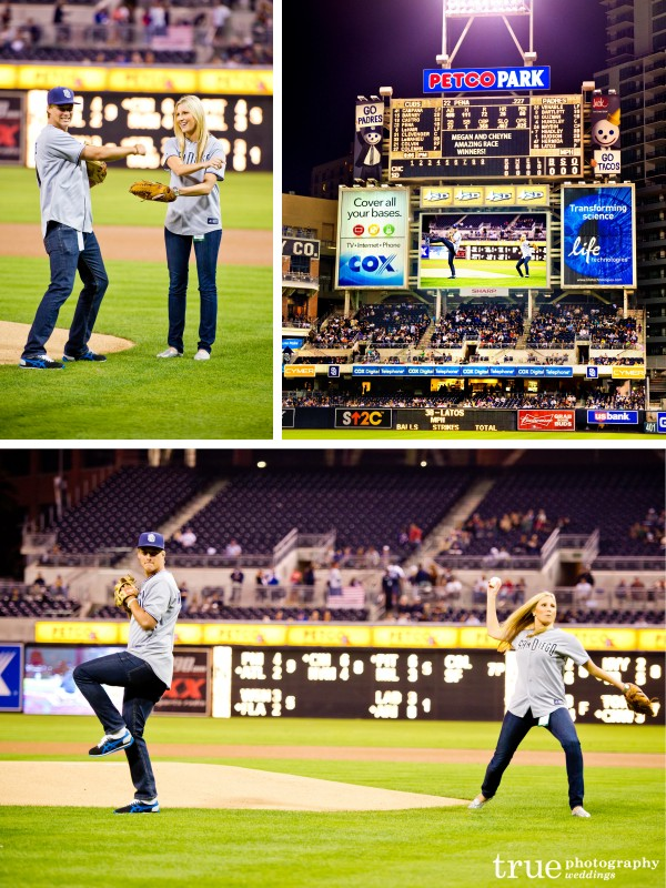 San Diego Wedding Photography: Meghan and Cheyne of Amazing Race throw out first pitch at San Diego Padres game at Petco Park