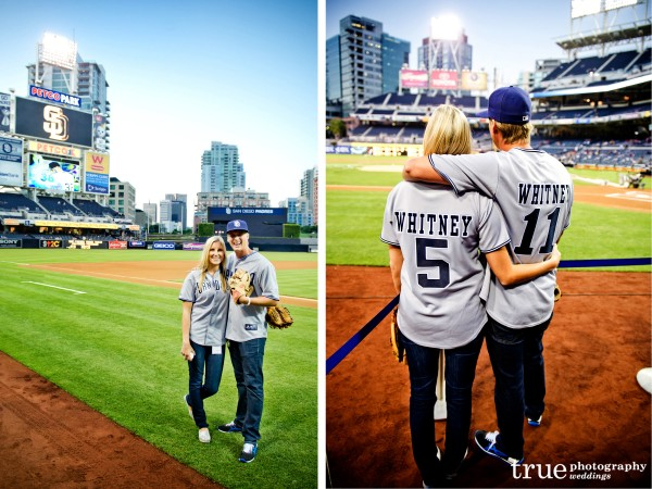 San Diego Wedding Photographer photographs Meghan and Cheyne of Amazing Race at Petco Park in San Diego