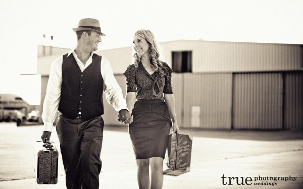 San Diego Wedding Photography: Pan Am inspired Vintage engagement shoot with suitcases at San Diego International Airport
