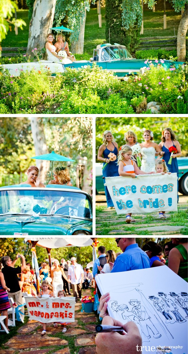"San Diego Wedding Photographer captures bride entering on a classic car and flower girls holding ""Here Comes the Bride"" sign"
