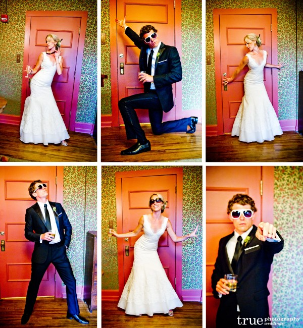 San Diego Wedding Photography: Bride and groom having fun doing Vogue poses during wedding reception in Denver Colorado
