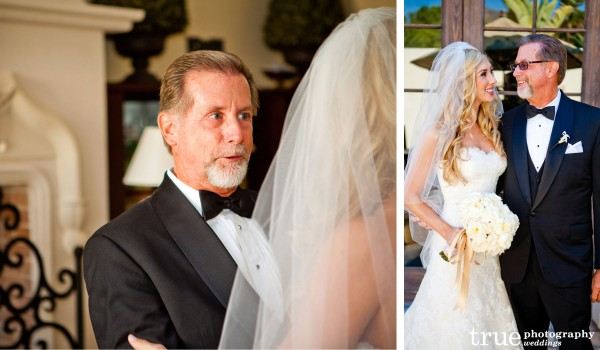 San Diego Wedding Photographer photographs bride and father-of-the-bride before beautiful wedding at The Crosby in Rancho Santa Fe