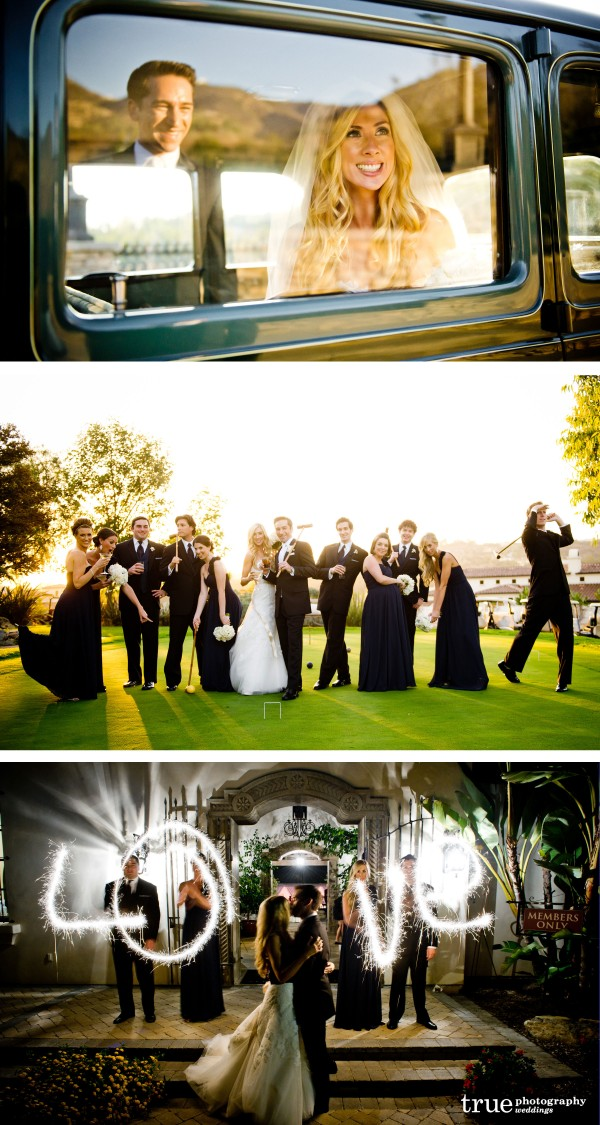 San Diego Wedding Photographers: Fun and creative wedding photos with reflection, bridal party and sparklers