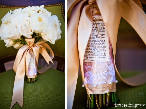 San Diego Wedding Photographer photographs bridal bouquet wrapped with scripture and a cross at a Wedding at The Crosby Club in Rancho Santa Fe