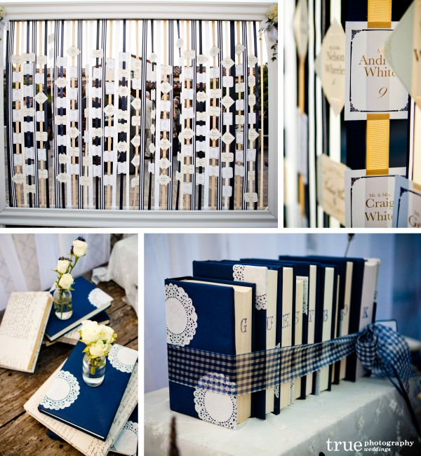 San Diego Wedding Photographers photograph wedding details inlcuding guestbook table and escort card display