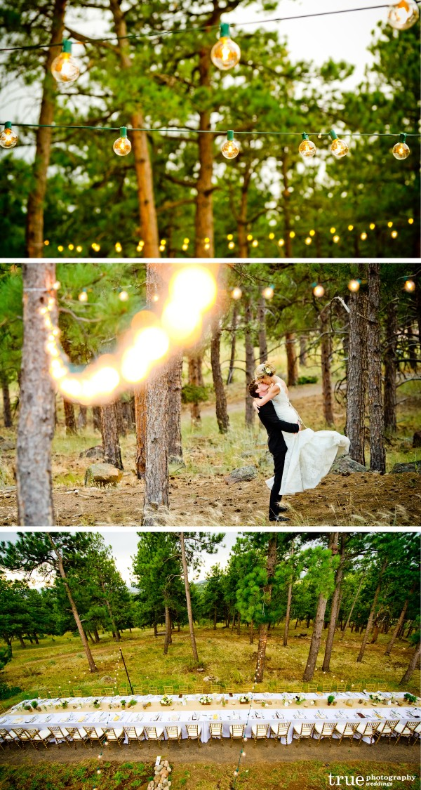 San Diego Wedding Photography: Outdoor wedding reception with twinkle lights and string lights for ambiance