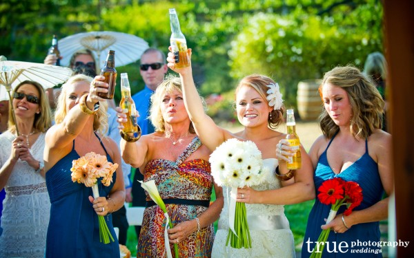 San Diego Wedding Photography: Toast for father before the ceremony at Lake Oak Meadows private estate and winery wedding