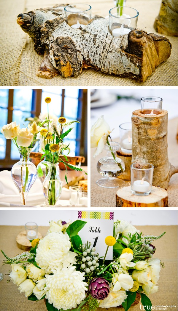 San Diego Wedding Photographers: Mountain themed wedding with wood tree trunk centerpieces and candle holders. Unique flowers with Billy Balls