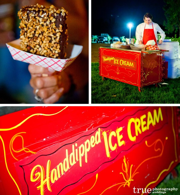 San Diego Wedding Photography: Wedding dessert of old fashioned hand dipped ice cream at Temecula Winery Wedding