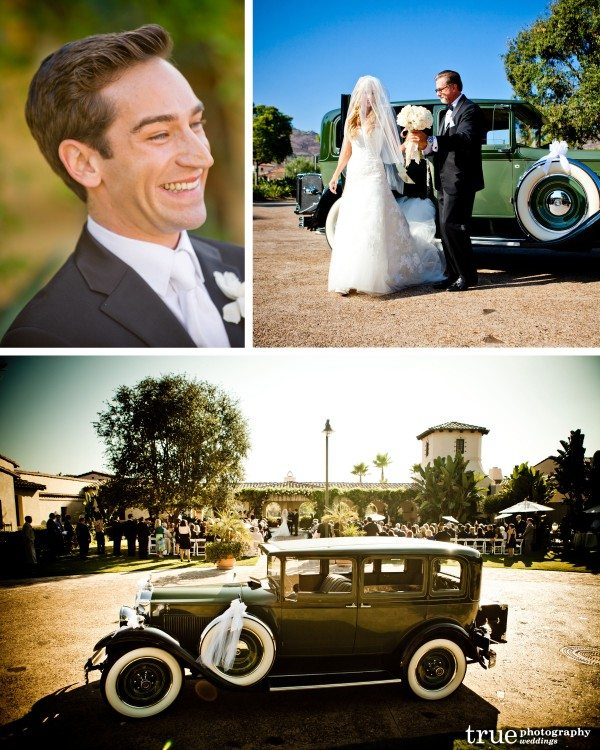 San Diego Wedding Photographer photographs groom when bride and dad walk down the aisle at wedding at the Crosby