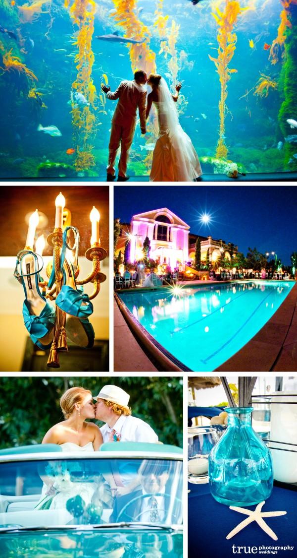 San Diego Wedding Photography: Aqua glass details, wedding decor aqua, glass centerpiece