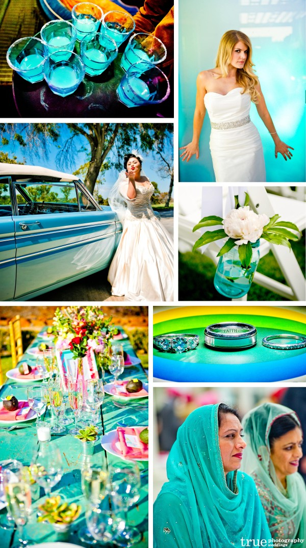 San Diego Wedding Photography: Aqua wedding color with bright background, aqua wedding shoes, aqua florals, aqua backgrounds