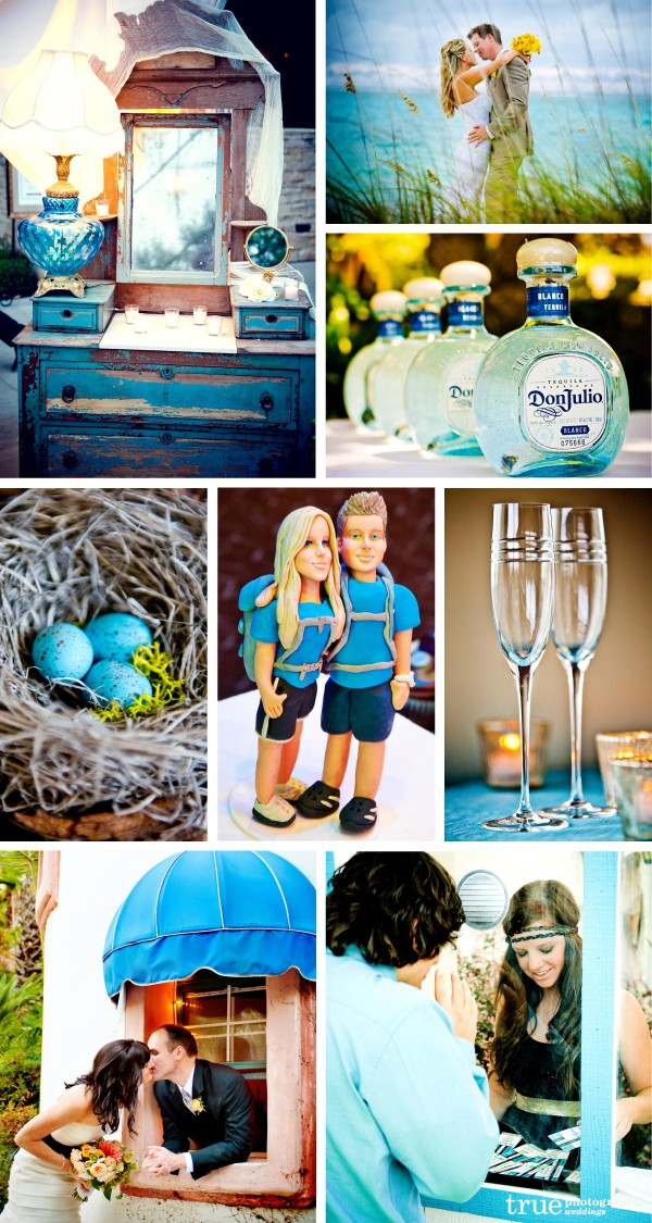 San Diego Wedding Photography: Wedding color aqua used in backgrounds, wedding details, centerpieces, glasses