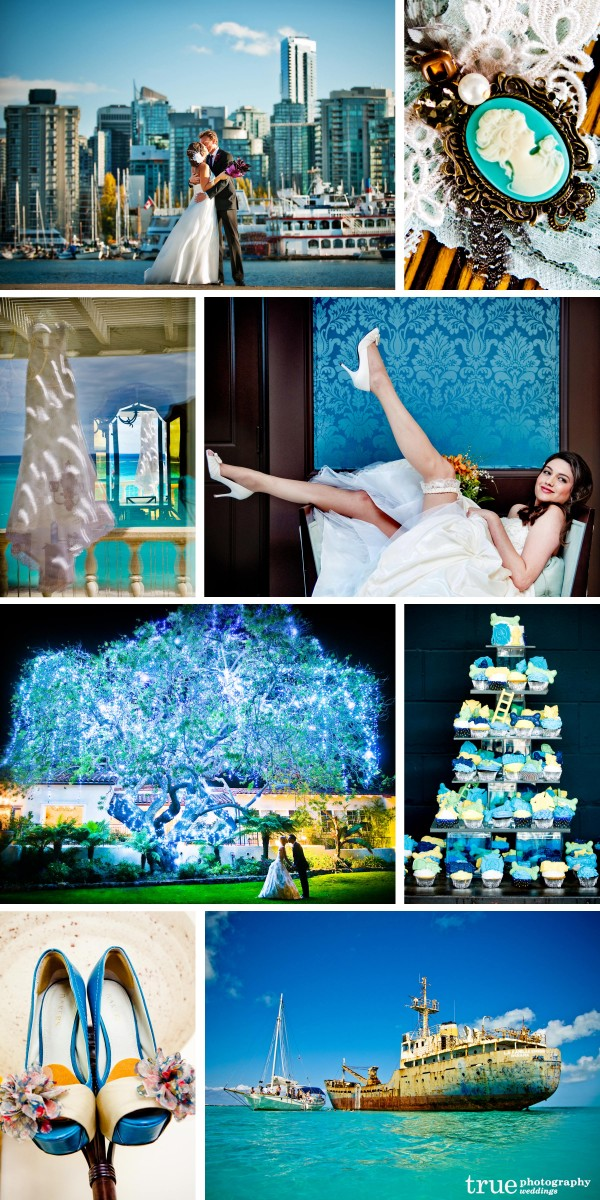 San Diego wedding photographers: Aqua wedding color seen in backgrounds, garter detail, tuqouise lighting and cupcake tower