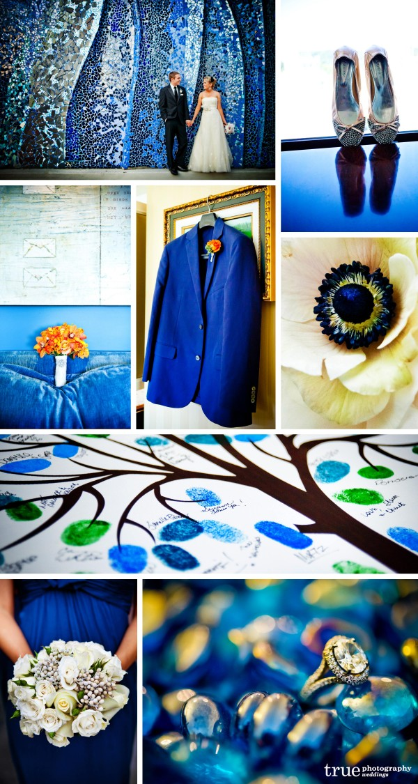 San Diego Wedding Photography: Blue wedding photos of shoes, wedding details, accessories, grooms suit, guestbook tree and blue bridesmaids dresses