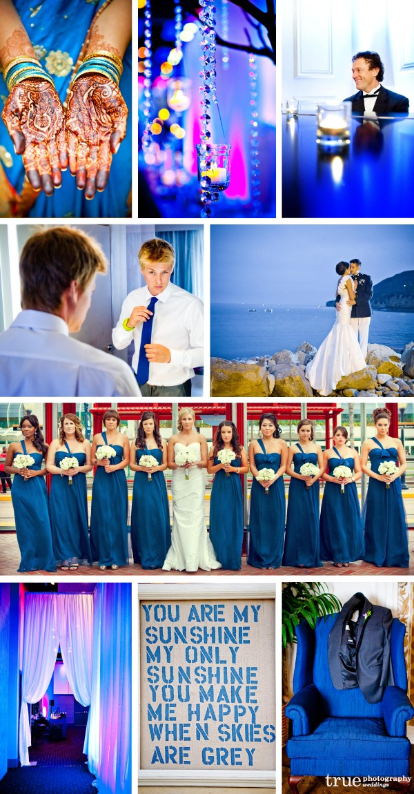 San Diego wedding photographers: Blue wedding photos with blue bridesmaids dresses, blue tie, Indian ceremony with blue dress, blue background
