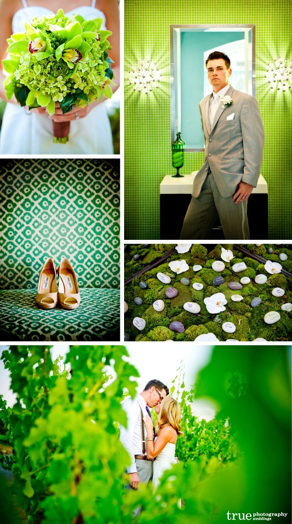 Top San Diego Wedding Photography: Green Wedding photos of flowers, green accents and decorations
