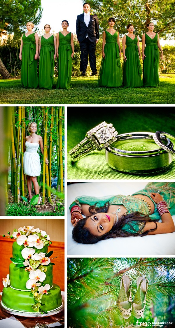 San Diego Wedding Photography: Green wedding photos with green bridesmaids dresses, green Indian wedding, green lighting and green wedding cake