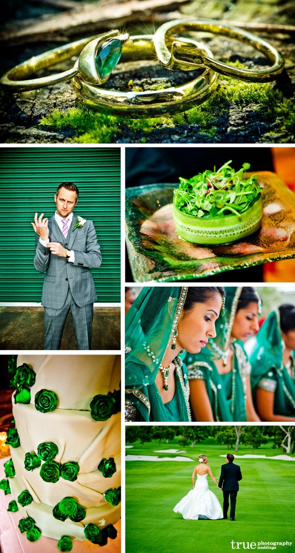 San Diego Wedding Photography: green wedding cake, green wedding rings green wedding colors