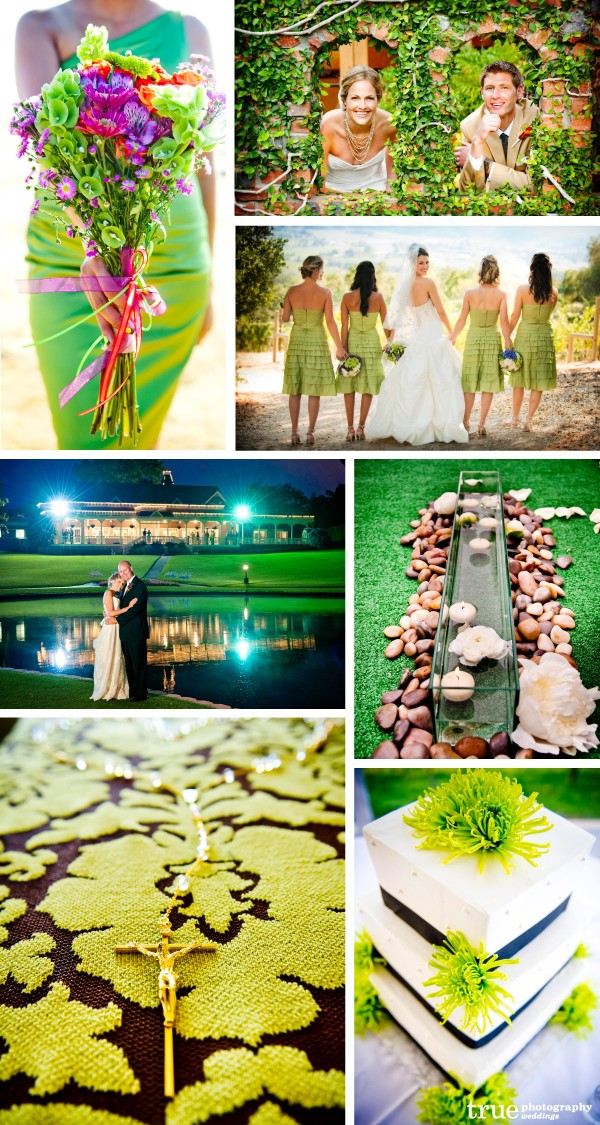 San Diego Wedding Photography: Green weddings with green bridesmaids dresses, green wedding bouquet, dreen leaves and green wedding details