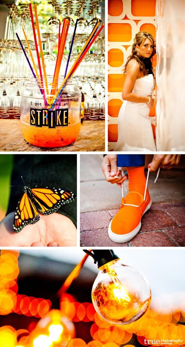 San Diego Wedding Photographer: Orange wedding theme with monarch butterflies during ceremony, orange cocktails, orange details, orange flowers
