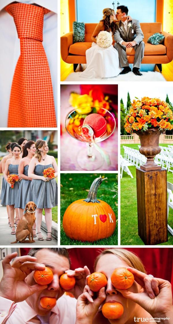 San Diego Wedding Photographers: Orange wedding theme color with fall pumpkins, orange bouquets, orange sherbet, orange tie, tangerines at wedding
