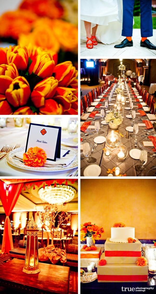 San Diego Wedding Photography: Orange wedding color with orange details, orange place settings, orange flowers and orange wedding attire