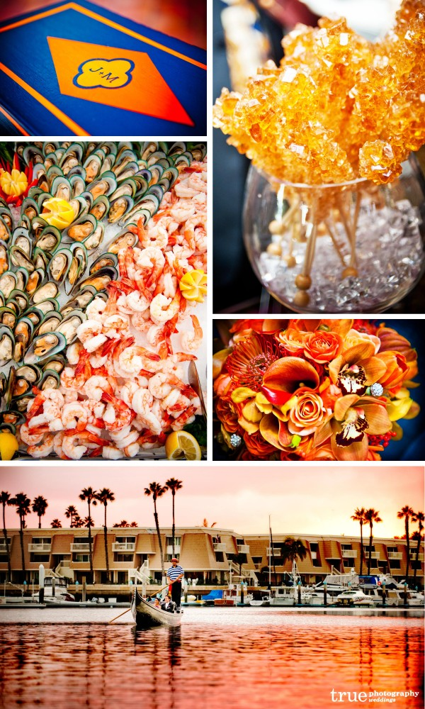 weddings with orange sunset, orange candy table, orange food at weddings, orange flowers