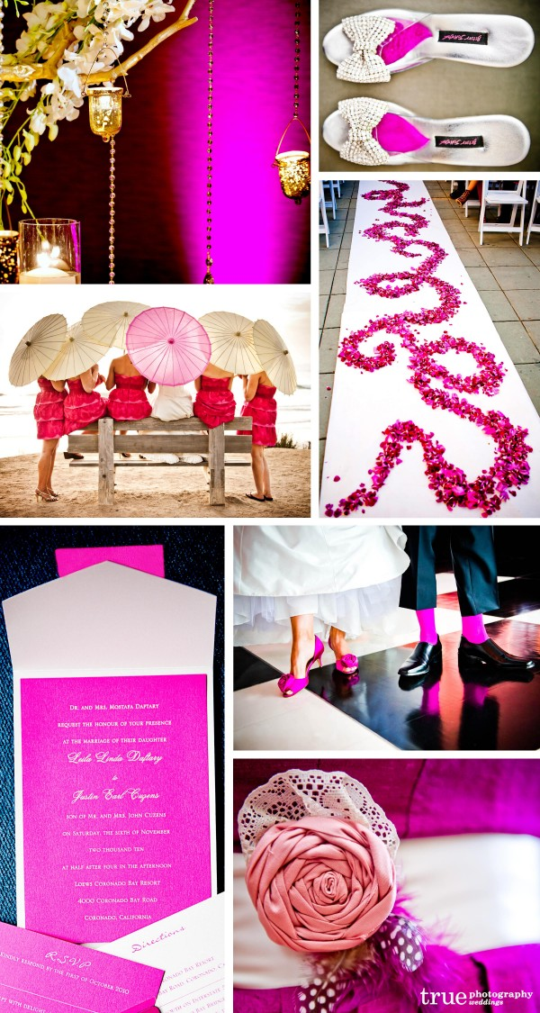 San Diego Wedding Photography: Pink Wedding color with pink flowers down the aisle, pink lights, pink socks, pink boquet, and pink umbrellas at a wedding, Pink wedding invitations