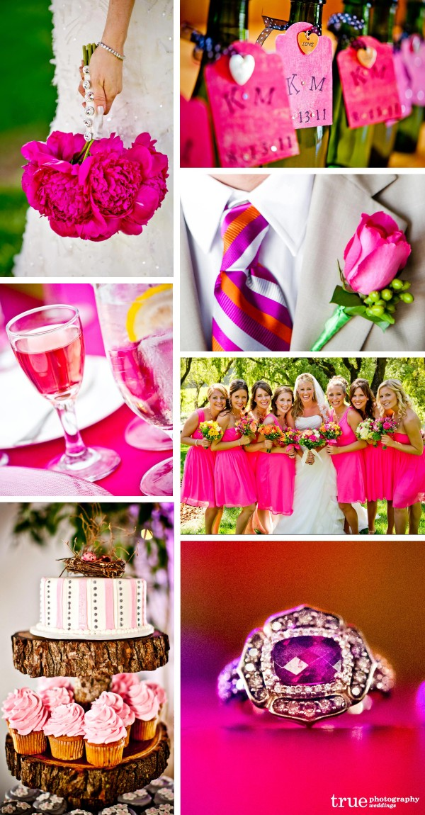San Diego Wedding Photographers highlight the color pink at weddings with pink boquets, pink flowers, pink cocktails and pink bridesmaids dresses