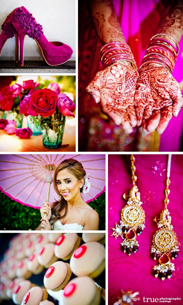 San Diego Wedding Photography: Pink weddings with pink florals, pink jewelry, pink Indian ceremony with henna, pink cupcakes