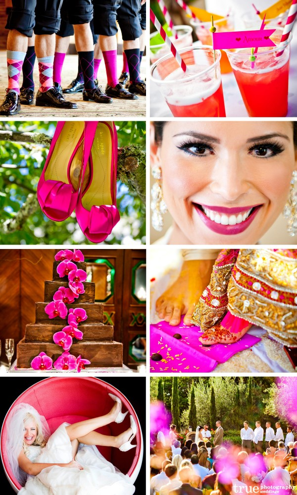 San Diego Wedding Photographers with pink wedding shoes, pink socks, pink cocktails, pink lips, pink wedding flowers