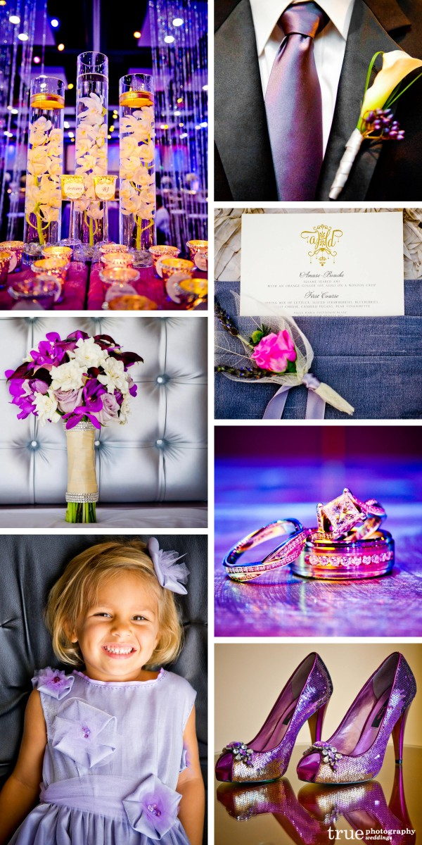 San Diego Wedding Photography: Purple wedding photos of purple menu, groom's tie, purple wedding shoes, purple wedding details