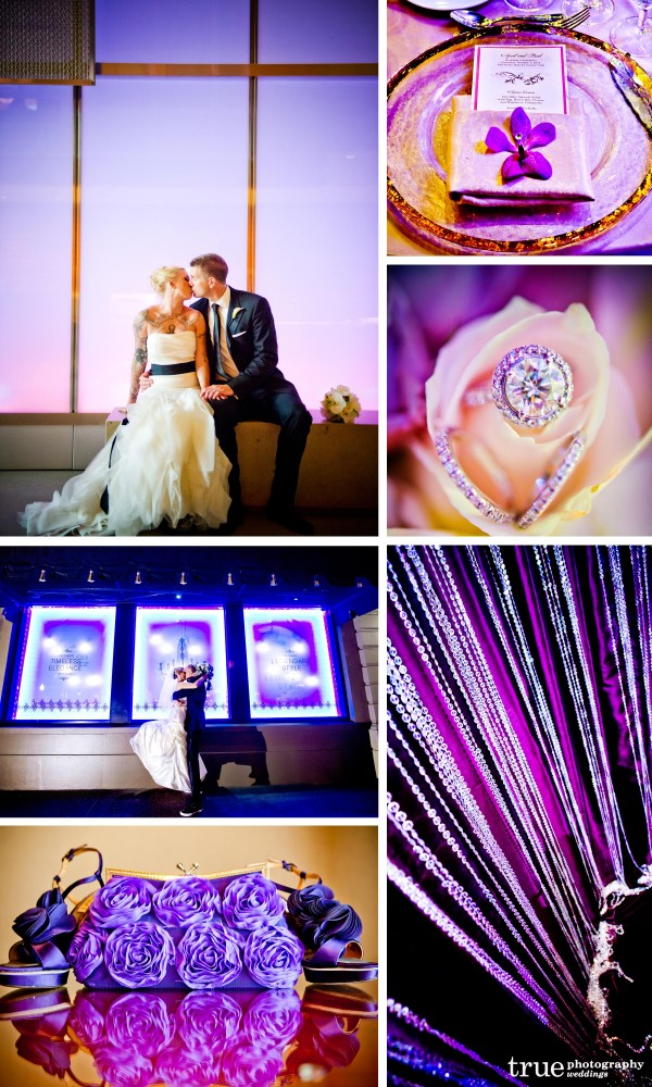 San Diego Wedding Photography: Purple wedding photos of purple invitations, purple wedding flowers, purple centerpieces, purple acessories