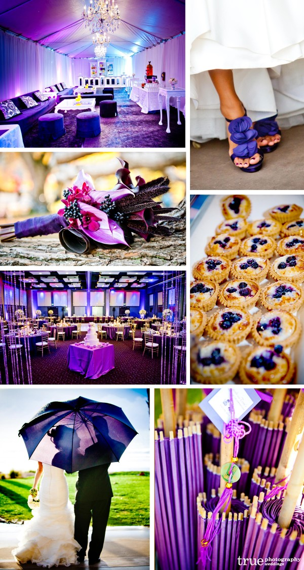 San Diego wedding photographers: Purple wedding photos of purple shoes, bouquets, purple umbrella, purple wedding cake, purple accessories