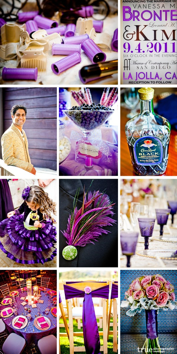 San Diego Wedding Photography: Purple wedding photos of Crown Royal bottle, purple candy table, purple flower girl dress, DIY purple boutinierre