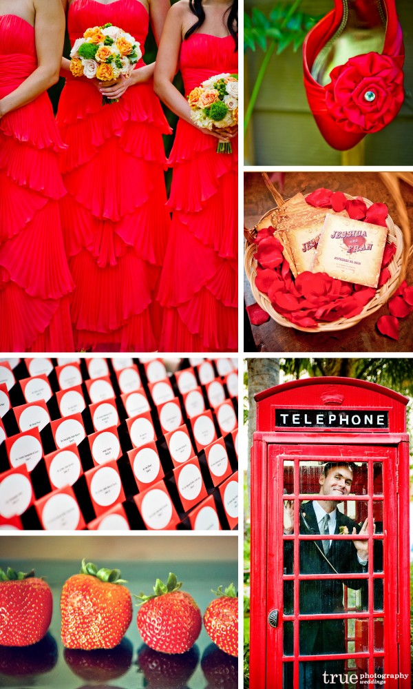San Diego Wedding Photography: Red wedding color, with red bridesmaid dresses, red invitations, red wedding shoes, red wedding theme