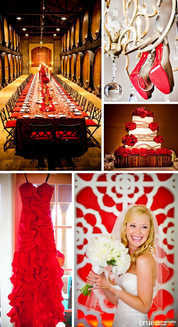 San Diego Wedding Photography: Red wedding color, red dresses, red table place settings and decor, red wedding details, red wedding theme