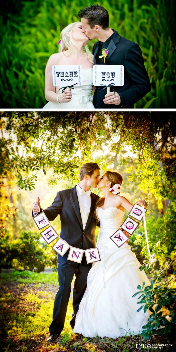 San Diego Wedding Photographer: 2011 Wedding trend bride and groom holding thank you signs