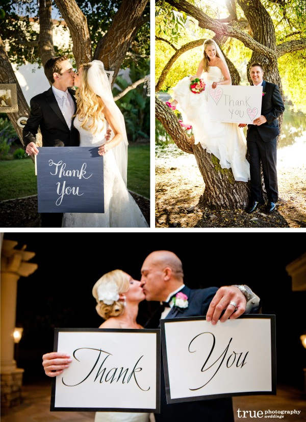 San Diego Wedding Photographer: 2011 Wedding trend bride and groom holding thank you signs for thank you cards