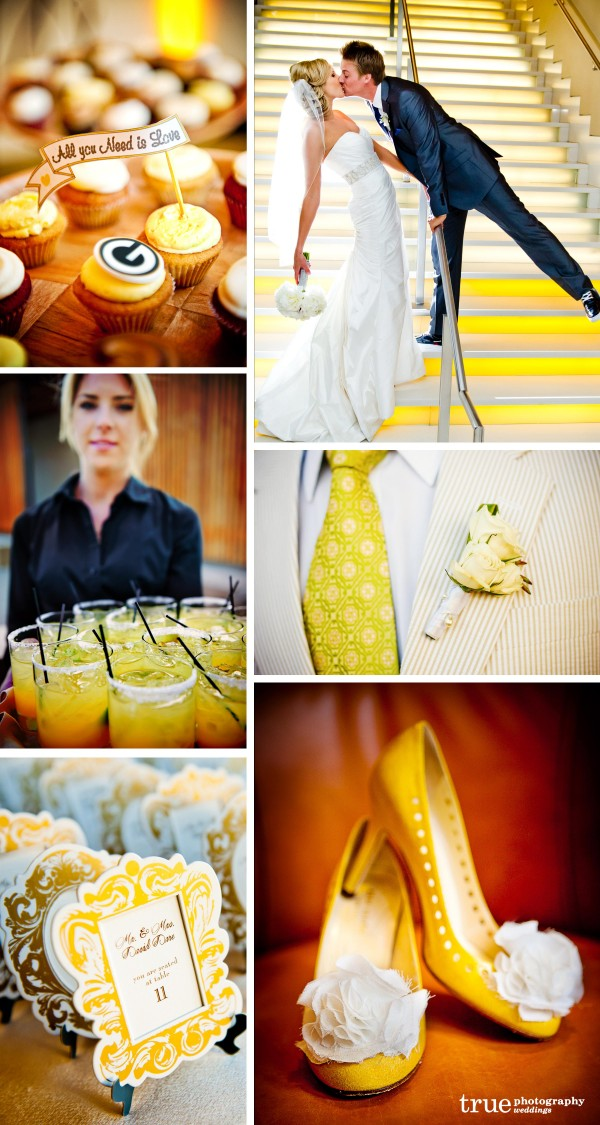 San Diego Wedding Photography: Yellow wedding photos, yellow cupcakes yellow tie, yellow cocktails, wedding details