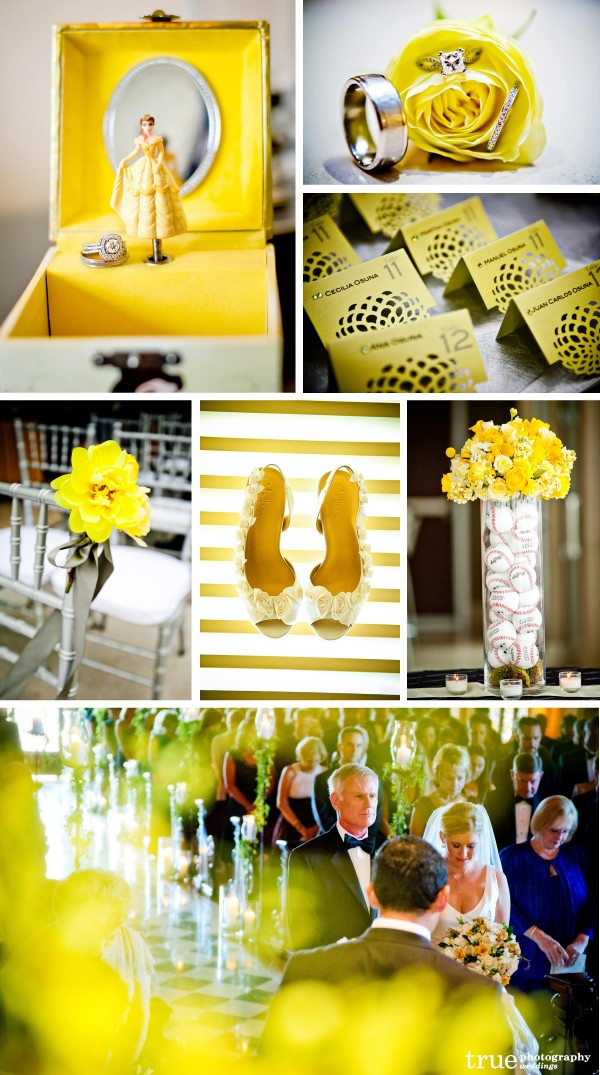 San Diego Wedding Photography: Yellow wedding theme photos, yellow wedding place cards, yellow ceremony, yellow wedding details