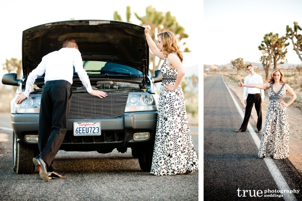 San Diego Wedding Photographers: Engagement shoot in Joshua Tree couple hitch hiking in the desert;  desert wedding pictures