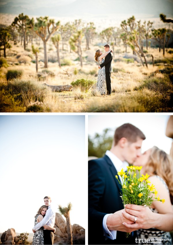 San Diego Wedding Photographer: Engaged couple during creative desert photoshoot in Joshua Tree National Park  desert wedding pictures