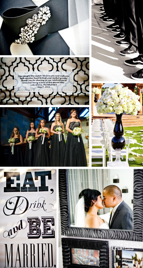 San Diego Wedding Photography: Black wedding theme color, black wedding shoes, black bridesmaids dress, black groomsmen shoes, black frames, black wedding details, black patterns