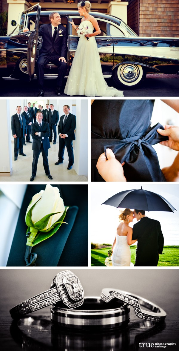 San Diego Wedding Photographers: Black wedding theme photos, black classic car, black wedding shoes, black wedding attire