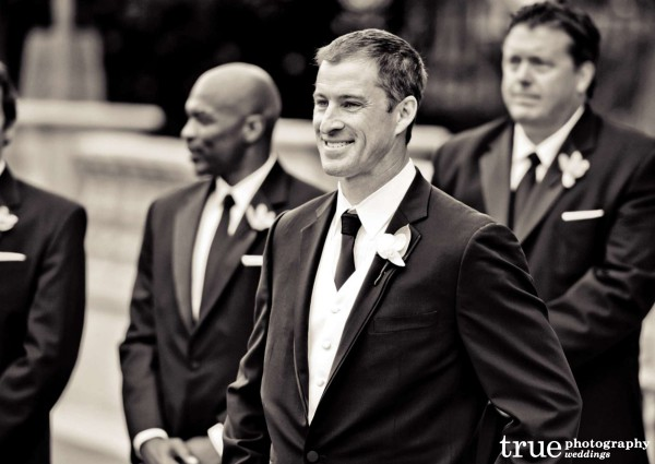 Groom-Looking-at-Bride-at-Grand-Del-Mar-Wedding-Ceremony