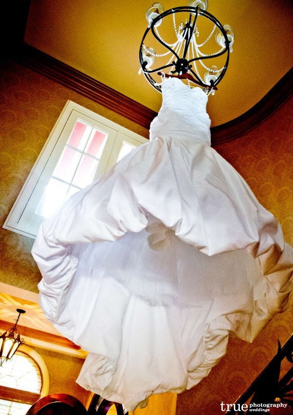 Hanging-Wedding-Dress-at-Grand-Del-Mar-Wedding